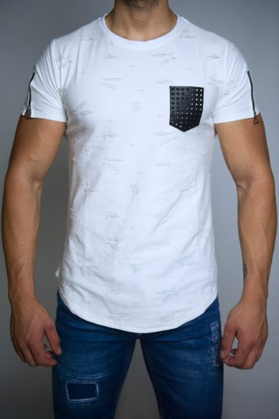 Wit Heren T-shirt Met Borstzak