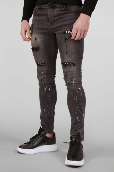 Donkergrijze Skinny Jeans met Patches