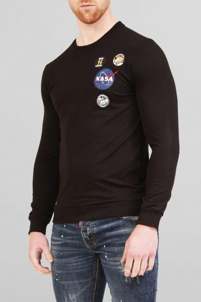 Zwarte Nasa Slim-Fit Heren Trui