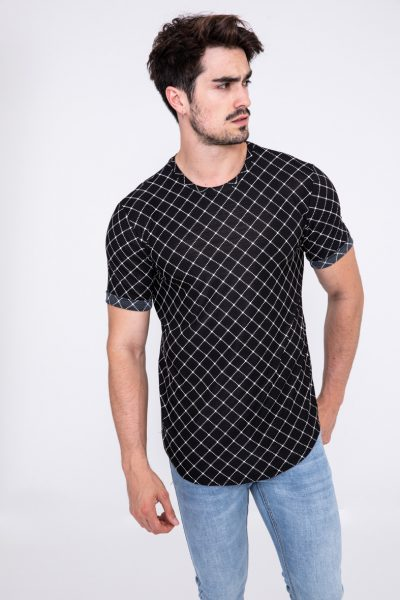 Zwart Heren T-shirt Carreaux