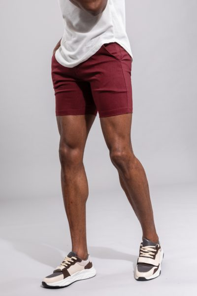 Bordeaux Korte Slim Fit Broek